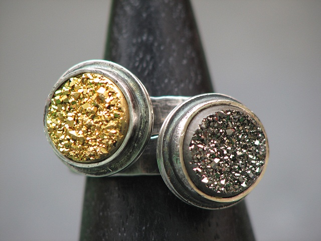 Set of Rings-Sterling and Gold and Silver Druzys