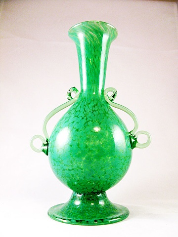 Kelly Green Hand Blown Bottle