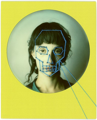 impossible project, color, film, analog, analogue, portrait, photography, by urizen freaza, round frame, skull, tempus fugit, embroidery, polaroid, instant photography