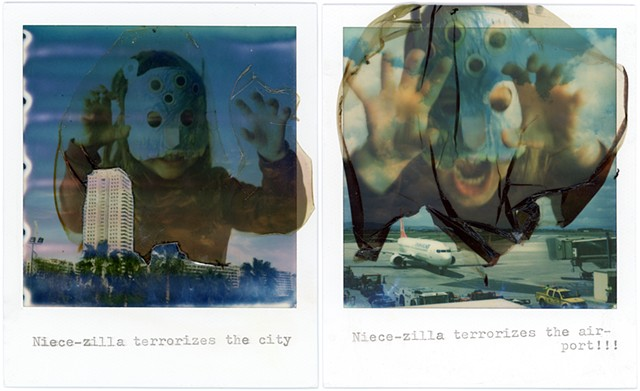 impossible project, color, film, analog, analogue, portrait, photography, by urizen freaza, diptych, emulsion, lift, collage, second generation, godzilla, monster, niece, terrorize, city