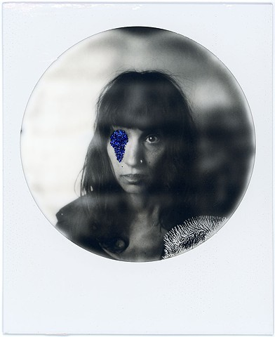 impossible project, film black and white, analog, analogue, portrait, photography, by urizen freaza, blue, glitter