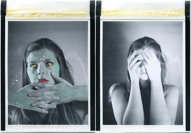 kuleshov effect, polaroid, instant photography, painted, watercolors, disappear, expired, film, analog, analogue, dream, by urizen freaza, lev kuleshov, perception, dimensions, layers, diptych