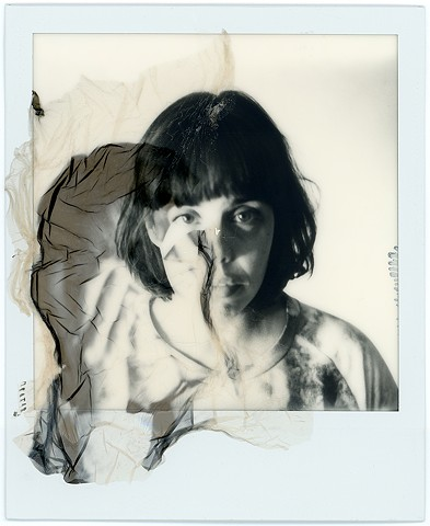 Emulsion lift of color impossible film on black and white impossible film, the impossible project, instant photography, by urizen freaza, polaroid, double, doble, layers, multiple