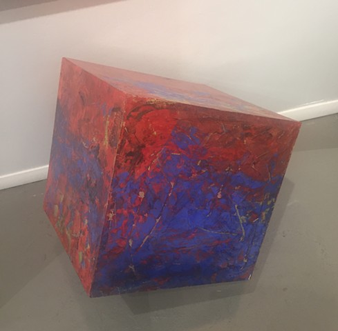 Kosmowski's Red & Blue Cube With Stand