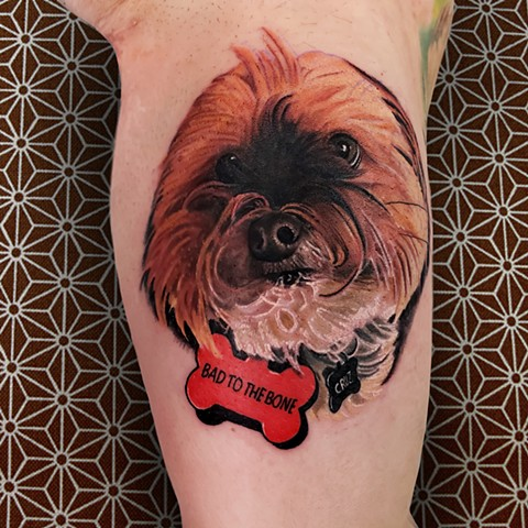 Dog portrait tattoo by Chris Lowe at naked art tattoos in Odenton Maryland