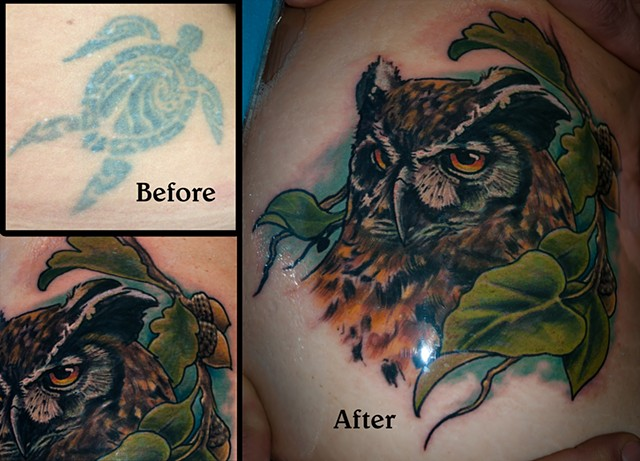 realistic owl tattoo cover up by chris lowe of naked art tattoos odenton maryland