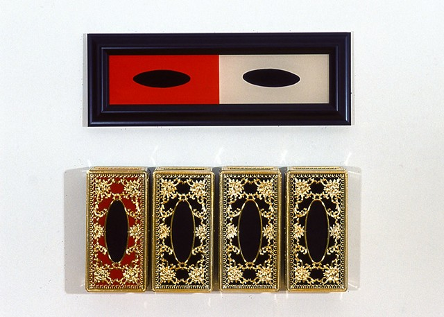 Jennifer McMackon, Rorschach Test Wall detail, arrangement of kleenex box covers with red and cream diptych