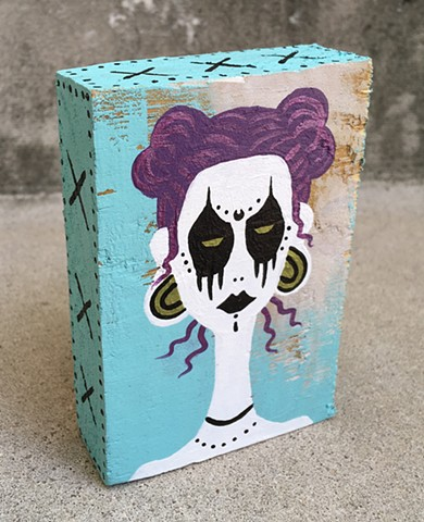 chandarchandar, panting, acrylic, recycled, reclaimed, wood, found wood, goth girl, blue, black, purple, white, zombie girl