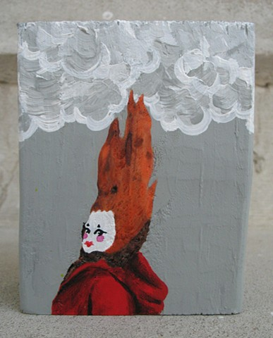 chandarchandar, painting, acrylic, wood, knot, found wood, reclaimed wood, francis, clown, red hair, grey clouds