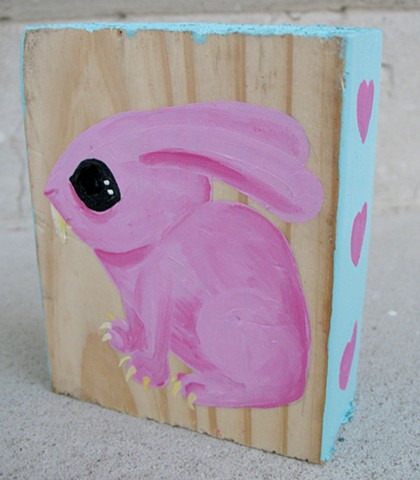 chandarchandar, panting, wood, found wood, reclaimed wood, bunny, rabbit, blue, pink, cute, hearts