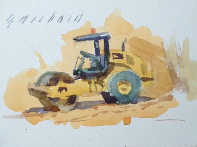 watercolor painting plein air construction steam roller