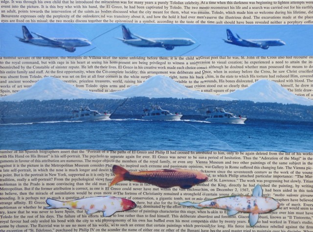 """the perplexity of the onlookers"" - Collage by Vashon Artist John Schuh"