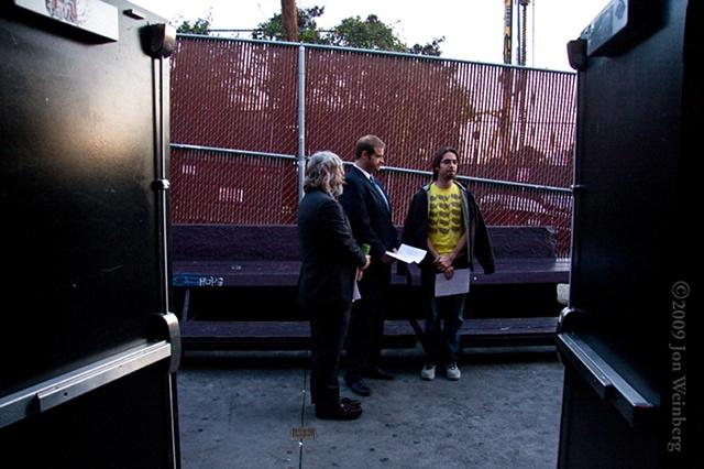 John Ennis, Eric Edelstein & Martin Starr Rehearsing