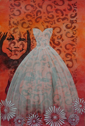 painting of Brittinee with white wedding, prom dress on pink swirly background