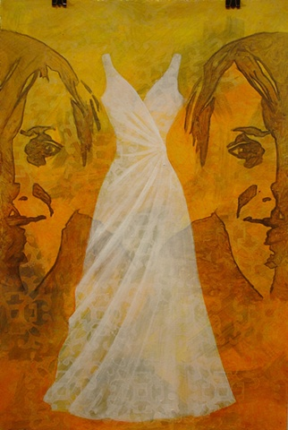 painting of Chelsea with formal wedding dress on yellow, gold, orange background