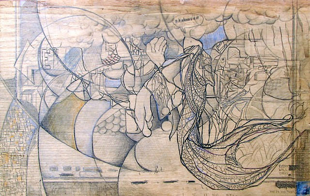 Jordan Quintero, drawing, mixed media, cityscape, city roots, roots, organitecture, drawings on wood, fairy tales, Japanese, current events, radiation, Fukishima