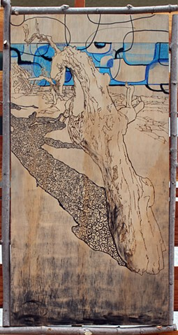 mixed media, contemporary art, contemporary mixed media, wood burning, landscape, Morro Rock, Central Coast, California Landmarks, architectural, architecture, organic form,