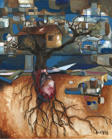 Jordan Quintero, Painting, Contemporary Art, Contemporary Figurative Painting, Mythological Art, Surrealist Art, Treehouse, Urban, Organic, Street Art, Trees, Transformation, Visonary Art