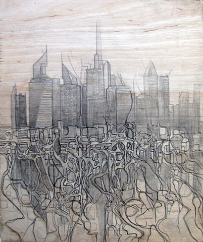 Jordan Quintero, drawing, mixed media, cityscape, city roots, skyline, roots, organitecture, drawings on wood
