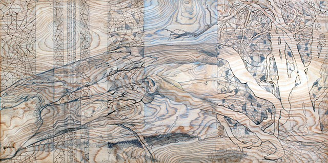 mixed media, contemporary art, contemporary mixed media, wood burning, landscape, trees, eucalyptus, monarch grove, Pismo Beach, magical realism, surrealism, contemporary abstraction, figurative art, Central Coast, architectural, architecture, organic for