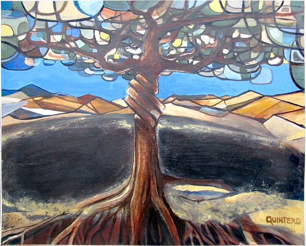 Abstract surrealist contemporary oil painting with mythological themes and arboreal motifs.