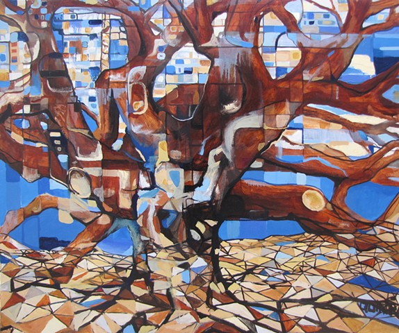 Abstract surrealist contemporary oil painting with mythological themes.  Zeus. Trees.