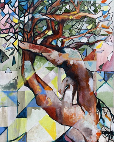 sensual abstract surrealist contemporary organic tree oil painting on canvas