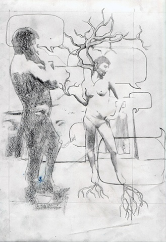 contemporary figurative drawing, surrealist, arboreal