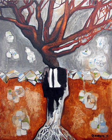urban organic oil painting contemporary surreal humans turning into trees