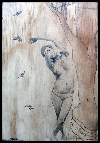botanical, organic, branches, erotic, contemporary figure drawing, pencil on wood