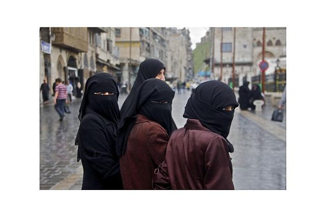 Three women in Aleppo Syria