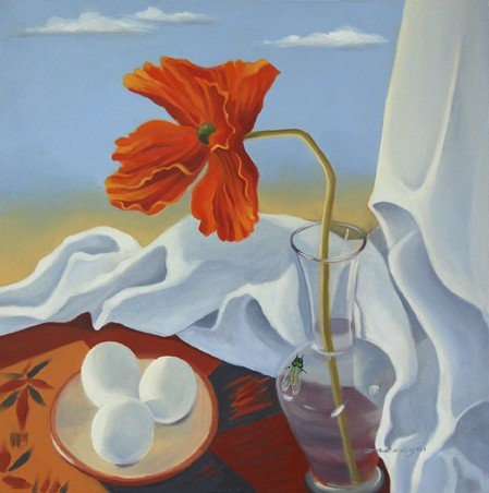 oil painting of orange poppy and eggs with fly