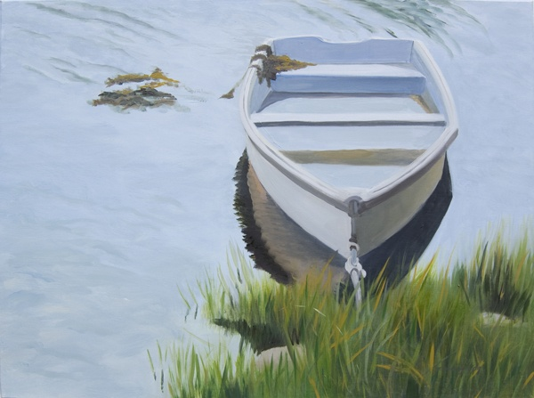 oil painting of boat, skiff water's edge in Maine