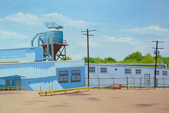 oil painting of industrial buildings in Cleveland Flats area of Cleveland, OH