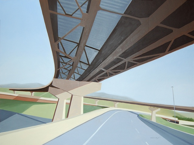 oil painting landscape with highway overpass/underpass near Corning, NY