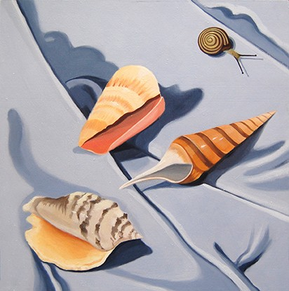 oil painting, shells, snail, still life