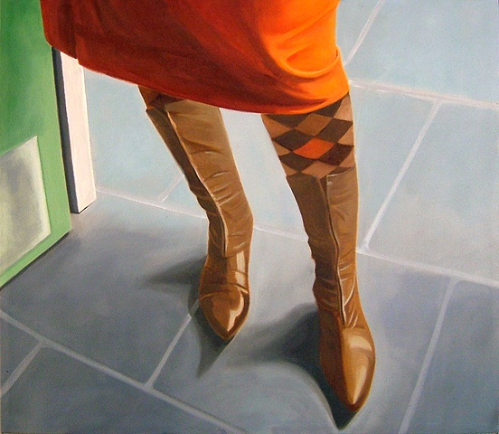 oil painting of Italian boots, shoe portrait series
