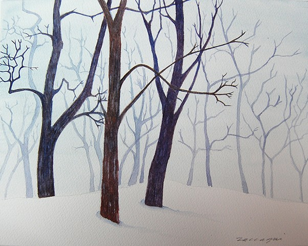 watercolor painting of snow and winter trees in forest