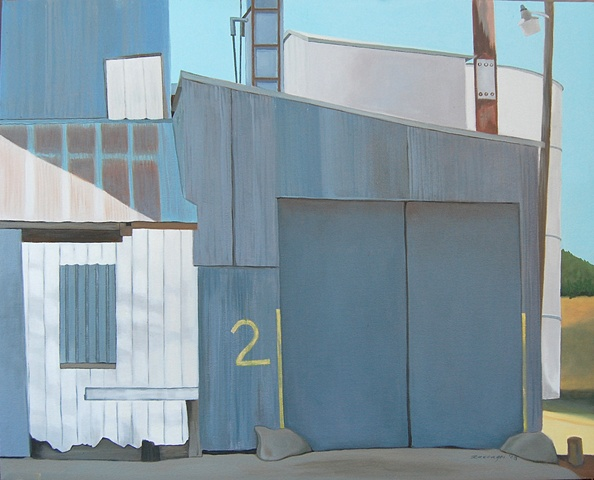 oil painting of garage door in abandoned building in Kansas