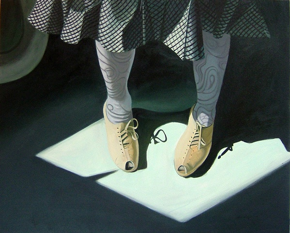 oil painting of tan grandmother shoes, shoe portrait series