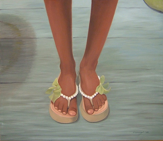 oil painting of flip flops with pearls and green bows, shoe portrait series