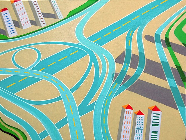 abstract oil painting of aerial view of highway interchange