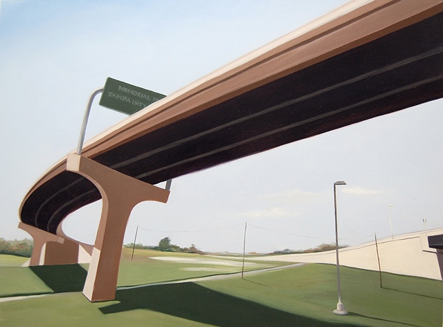 oil painting landscape with highway overpass/underpass near the Tampa International airport.