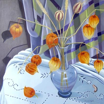 oil painting of Japanese lanterns in a glass vase with a worm or larvae