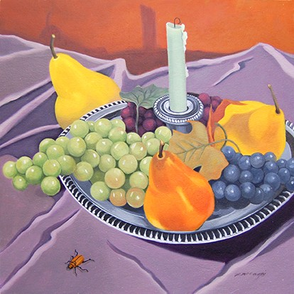 oil painting, still life, fruit, candlestick, insect