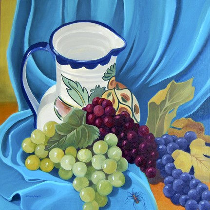 Italian ceramic pitcher with green, red, and purple grapes with insect