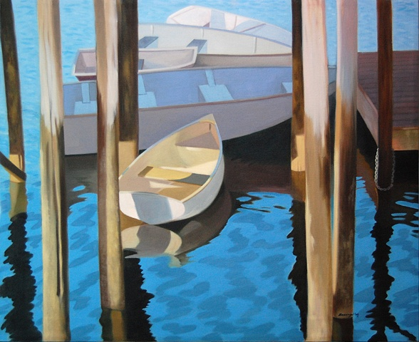 oil painting of boat, skiff docked at Port Clyde in Maine