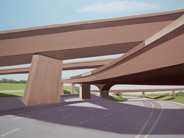 oil painting landscape with highway overpass/underpass