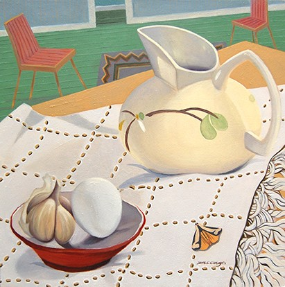 oil painting, still life, pitcher, garlic, egg, moth