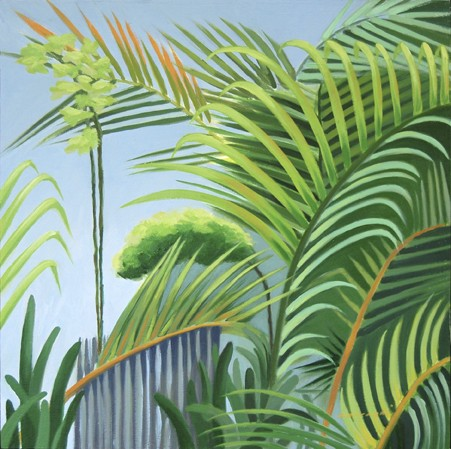oil painting of palm trees in the Yucatan